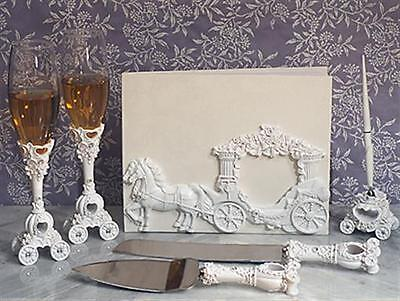 Cinderella Enchanted White Coach Wedding Guest Book Flutes Cake Accessory Set