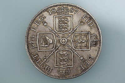 Gb Victoria Double Florin Coin 1887 S3923 Extremely Fine