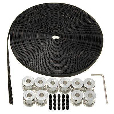 10m 33ft GT2 Timing Belt 6mm wide & 10 X Pulley 5mm For 3D printer CNC RepRap