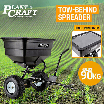 PLANTCRAFT Tow Behind Broadcast Spreader 90kg 105L Seed Fertiliser Tow Rotary