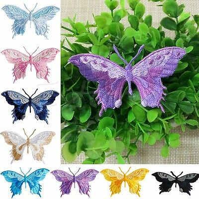 Butterfly Beautiful Colorful Iron-On Embroidered Patch Applique Motif Craft