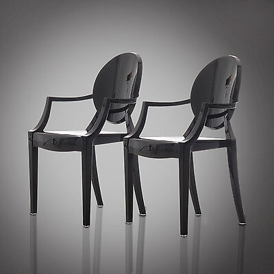 HOMCOM 2pc Boss Chair Armchair Kitchen Arms Dining Seat Philippe Starck  Style