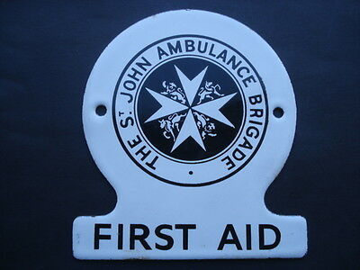 Vintage The St John Ambulance Brigade First Aid Small Enamel Sign