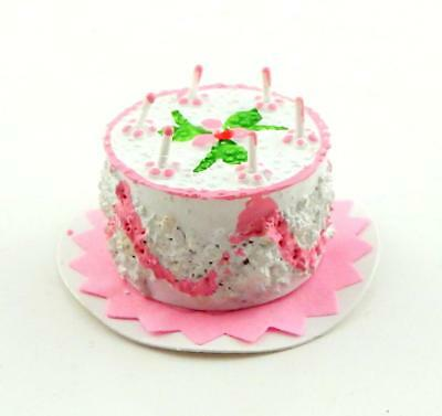 Dolls House Miniature Party Accessory 1:12 Scale Pink Birthday Cake & Candles