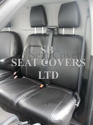 To Fit A Ford Transit Custom Van Seat Covers - Lwb, Ebony Black Leatherette
