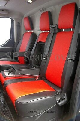 To Fit A Ford Transit Custom Van Seat Covers- 2016, Sport, Poppy Red Leatherette