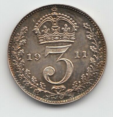 Very Rare George V 1911 Proof Silver Maundy Threepence 3d