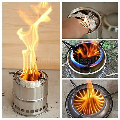 Portable Wood Stove Solidified Alcohol Outdoor Cooking Picnic Camping YC A6I0