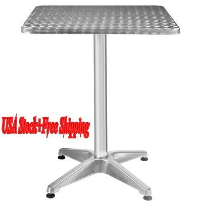 "Adjustable Aluminum Stainless Steel Square Table 23 1/2"" Patio Pub Restaurant US"