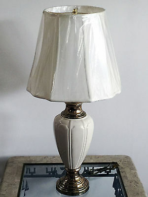 Vintage Berman Off-White Ceramic & Antique Polished Brass Table/ Desk Lamp