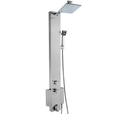 Stainless Steel Bathroom Shower Panel Spa Tower Overhead Spout Massage Jets