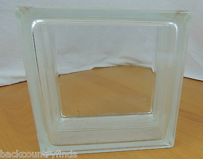 "Clear Glass Hollow Cube 7 5/8 x 4 7/8"" or 19.5 x 10 cm Brick Block Decora"