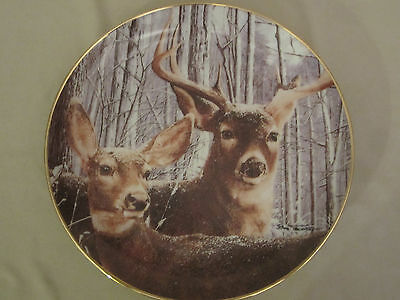 SNOWY ALERT collector plate BOB TRAVERS Wildlife WHITE TAILED DEER