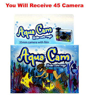 45x Aqua Cam Underwater Disposable Camera Waterproof Single Use 35mm 27exp 9/16