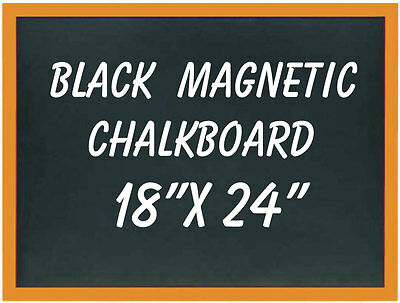 "18""x 24"" Wood Framed Black Magnetic Chalkboard"