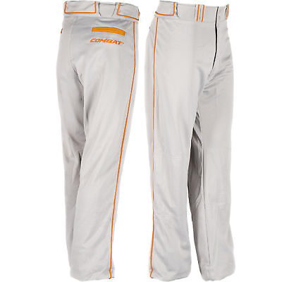 Combat Stock Adult Baseball/Softball Pant with Neon Piping - Grey/Orange - Small