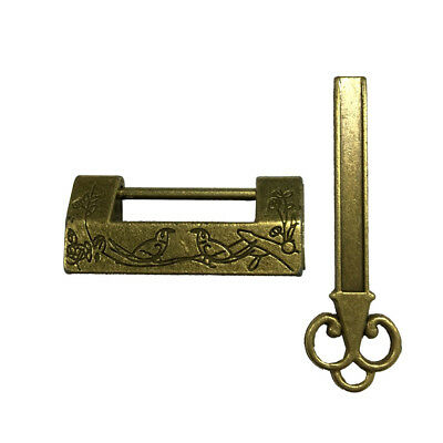 Traditional Chinese Brass Carved Bird Wedding Jewelry Box Padlock Lock + Key