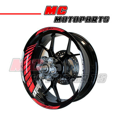 """Racing 17"""" Wheels Red Fluorescent Rim Stripe Tape Decals GP#2 For Yamaha"""