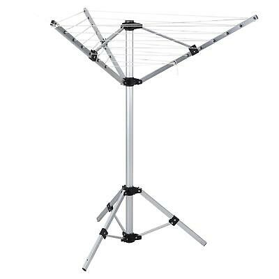 Rotary Washing Line Outdoor - Clothes Airer Dryer Rack Folding Laundry 3 Arm