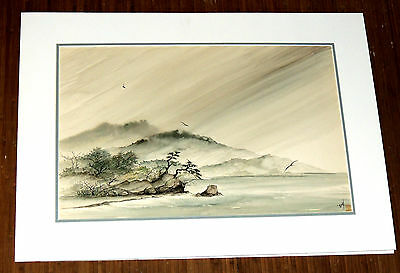 Antique Mystery Chinese Landscape Painting Watercolor on Board - Signed