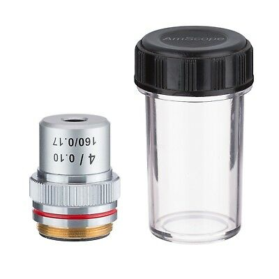 AmScope A4X 4X Achromatic Microscope Objective + Container