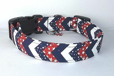Stars Stripes 4th of July Chevron Terri's Dog Collar hand made adjustable