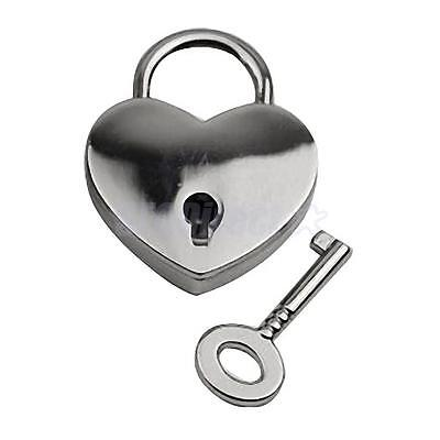 New Small Heart Shape Padlock Mini Travel Suitcase Bag Diary Lock Key Silver
