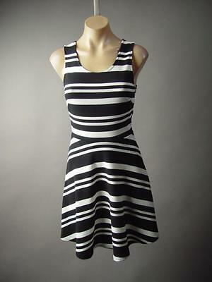 8ebd46d00aec Black White Stripe French Gamine Nautical Full Fit And Flare 182 mv Dress S  M L