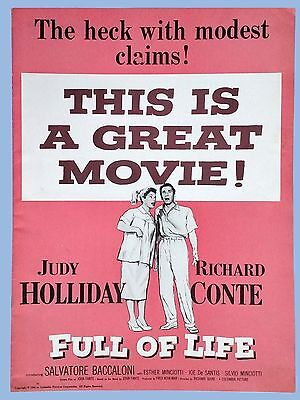 Vintage - Full Of Life - Orig Columbia Pictures Pressbook - 1956 - Judy Holiday