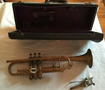 Antique Peerless Special Brass Trumpet With Mouthpiece Case