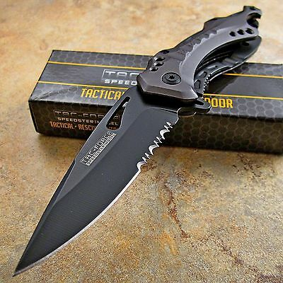 TAC-FORCE Grey Spring Assisted Open TACTICAL Rescue Folding Pocket Knife NEW