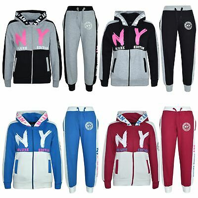 Kids Girls Tracksuit NY Deluxe Edition Print Hoodie & Bottom Jog Suit 7-13 Years