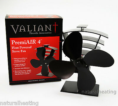 VALIANT Premium PremiAir 4 Blade Heat Powered Stove Fan FIR361 moves 420cfm air