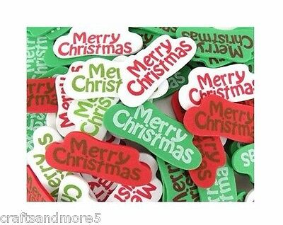 20 Foam Merry Christmas Word Stickers ~ 57mm x 24mm ~ Great For Scrapbooking