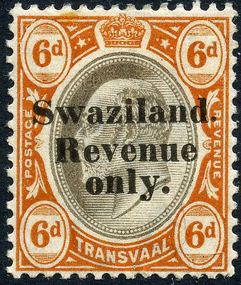 1904 6d SWAZILAND REVENUE ONLY OPT ON TRANSVAAL MINT Bft 26 REVENUE FISCAL DUTY