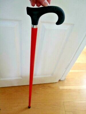 Unusual Wood Walking Stick New Soft Touch Black Handle Cane Red Wooden AID Stick