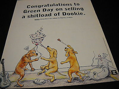 GREEN DAY Dogs Getting Buzzed & Throwing Dookie 1994 PROMO DISPLAY AD mint cond