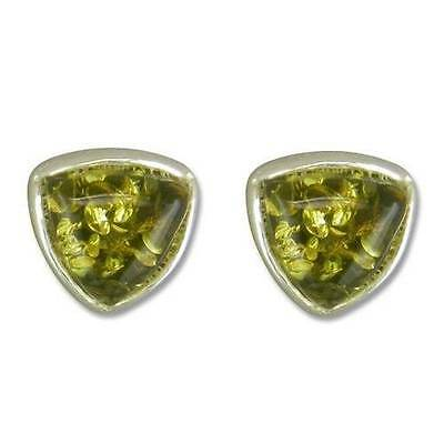 Silver stud earrings with triangular green amber