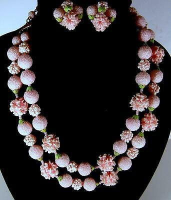 Vintage Mid Century 1960's Pink Snowball & Flower Plastic Necklace & Earrings