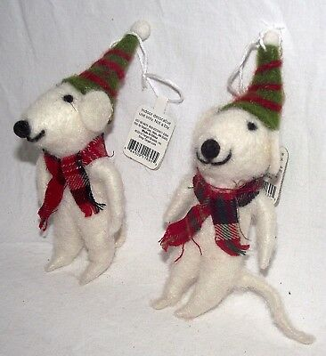 Mouse Ornament Christmas Scarf Mice Rat Hat Whimsical White Primitive Holiday 2