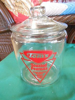 Great Collectible TOM'S Toasted Peanuts Glass CANISTER JAR