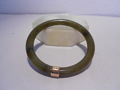 antiques brown & yellow jade section bangle 14kt gold