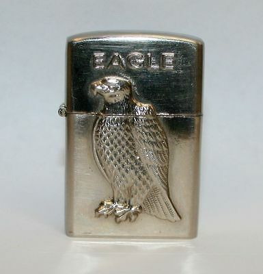 Silver Tone Pocket Flip-Top Torch & Flame Butane Eagle Animal Cigarette Lighter