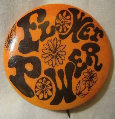 "60s Psychedellic ""FLOWER POWER"" Hippie Pin"