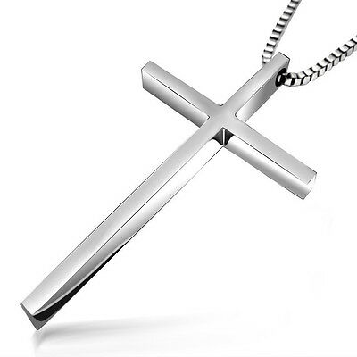Stainless Steel Mens Silver Cross pendant with 54CM Chain Necklace Classic MN8