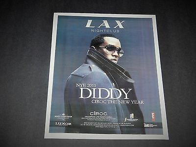 "P Diddy Sean 'Puff Daddy"" Combs 2011 Rap Concert NYE Vegas Promo Poster NEW"