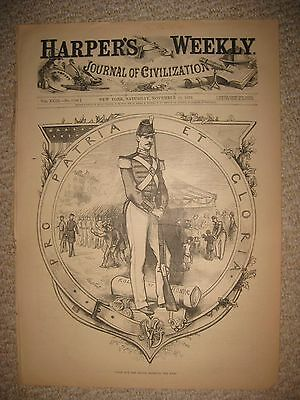 Antique 1879 Thomas Nast Harpers Weekly Print Us Army Military Soldier Print Nr