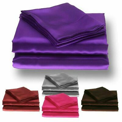 Plain Silky Sexy Satin Flat Bed Sheets - Single Double King Superking