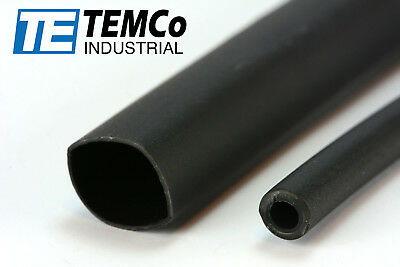 "TEMCo 1/2"" Marine Heat Shrink Tube 3:1 Adhesive Glue Lined 4 ft BLACK"