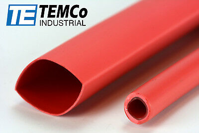 "TEMCo 9/16"" Marine Heat Shrink Tube 3:1 Adhesive Glue Lined 4 ft RED"